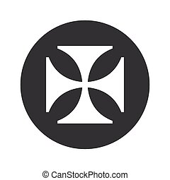 Monochrome round maltese cross icon - Image of maltese cross...