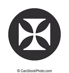 Monochrome round maltese cross icon - Image of maltese cross...