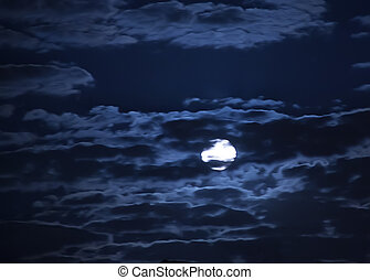 moon in dark sky - moon in the dark blue cloudy sky