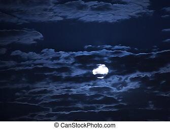 sombre, ciel, lune