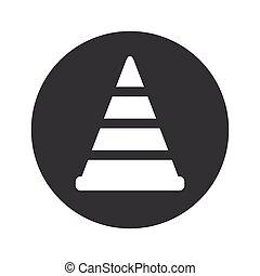 Monochrome round traffic cone icon - Image of traffic cone...