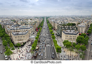 View of the Champs Elysees from the Arc de Triomphe in...