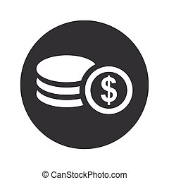 Monochrome round dollar rouleau icon - Image of dollar...