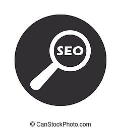 Monochrome round SEO search icon - Text SEO under loupe in...