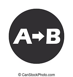 Round A to B icon - Letters A, B and arrow in black circle,...