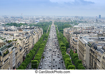 Champs Elysees from the Arc de Triomphe in Paris, France