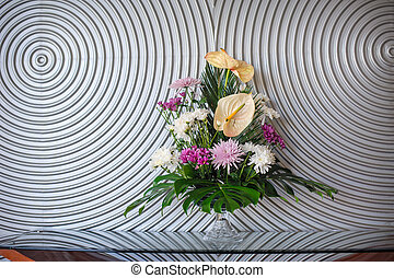 bouquet of flowers on the wall background