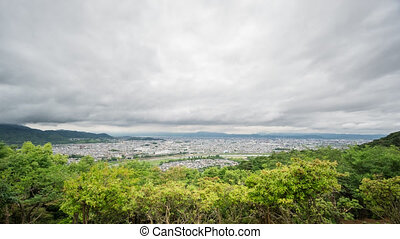 Kyoto skyline time-lapse from Arashiyama - Cloudy time-lapse...