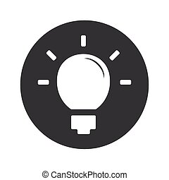 Monochrome round light bulb icon - Image of light bulb in...