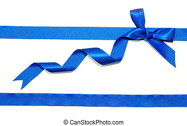 blue ribbon and bow on white background