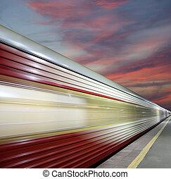 ultra-rapide,  sky), EXTÉRIEUR,  (against, mouvement,  train, barbouillage