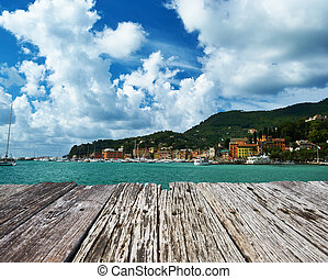 Ligurian coast in Italy - Santa Margherita Ligure town on...