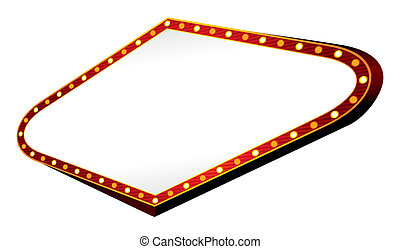 Blank neon sign isolated at white background