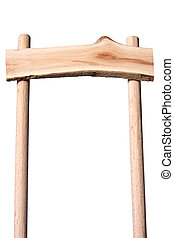 Wooden pointer view from below - Wooden pointer on white...