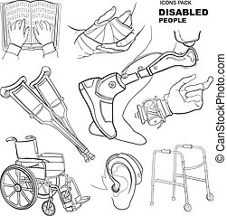 hand drawn pictures for disabled people - icon set for...
