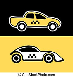 taxi service cars - vector set from two taxi service cars