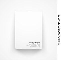 White paper template mock-up with drop shadow Vector...