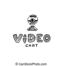 webcam - hand drawn logo with webcam isolate on white...