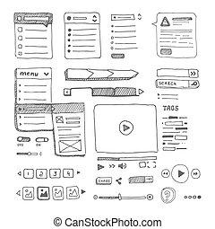 web page template - Web page drop down menu sketch