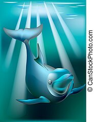 Delfin and rays of sunny