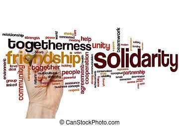 solidariedade, palavra, nuvem,