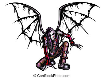 Fallen Goth Angel - Illustration the fallen angel dressed in...