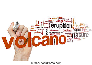Volcano word cloud concept
