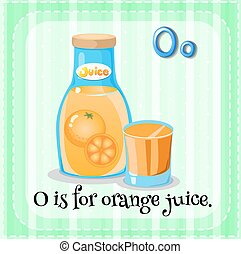 Orange juice - Flashcard letter O is for orange juice