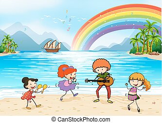 Enjoyment - Children singing and dancing at the beach side