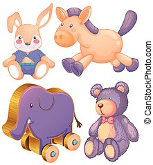 Animal toys - Stuffed animals and wooden elephant toy