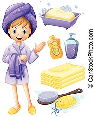 Girl bathing - Set of bathroom objects with girl in robe