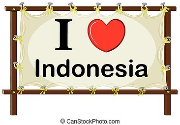 Indonesia - I love Indonesia sign in wooden frame