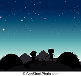 Camping - Silhouette boys camping out at night time