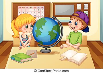Children and globe - Boy and girl looking at the globe in...