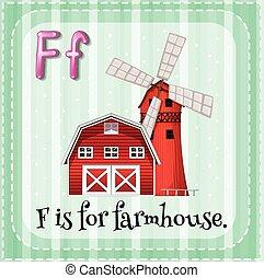 Farmhouse - Flashcard letter F is for farmhouse