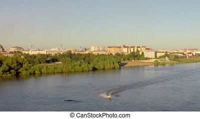 Right bank of Irtysh River in the city center - Omsk, Russia...