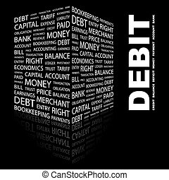DEBIT. Word cloud concept illustration. Wordcloud collage.