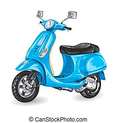 Blue scooter on white background