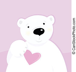 Polar bear with love heart - Cute polar bear character with...