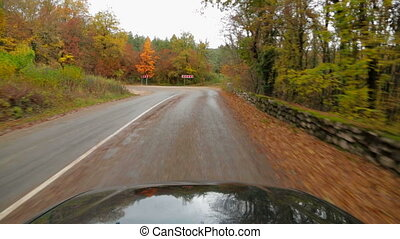One Passenger Car Driving Fast Along Road In Autumn Forest -...