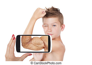 Vision. - Vision of success. Charming boy showing muscle...