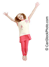 Joyful girl jumping with hands wide apart - isolated on...