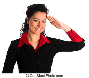 air hostess saluting - a young air hostess is saluting...