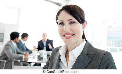 Attractive businesswoman in a wheelchair