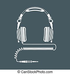 solid color big dj headphones device illustration