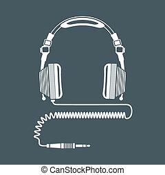 solid color big dj headphones device illustration