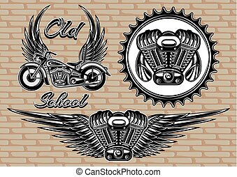 set of retro emblems on the motorcycle theme - vector set of...