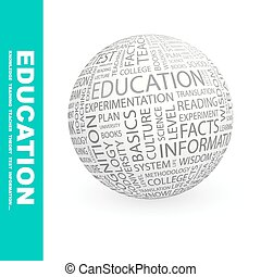 EDUCATION. Background concept wordcloud illustration. Print...