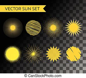 Abstract vector logo elements. Sun, vocation, summer and holiday. Stock illustration for design