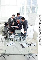 affär, folk, studera, försäljningarna, mångfaldig, Rapport, lycklig